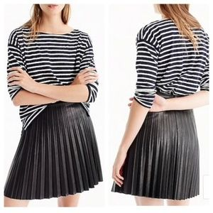 NWT J. Crew Pleated Mini Skirt Faux Leather, Sz 00